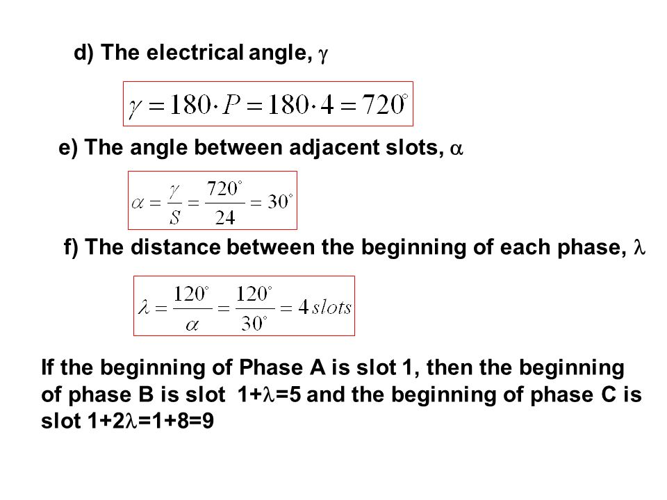 d) The electrical angle, 