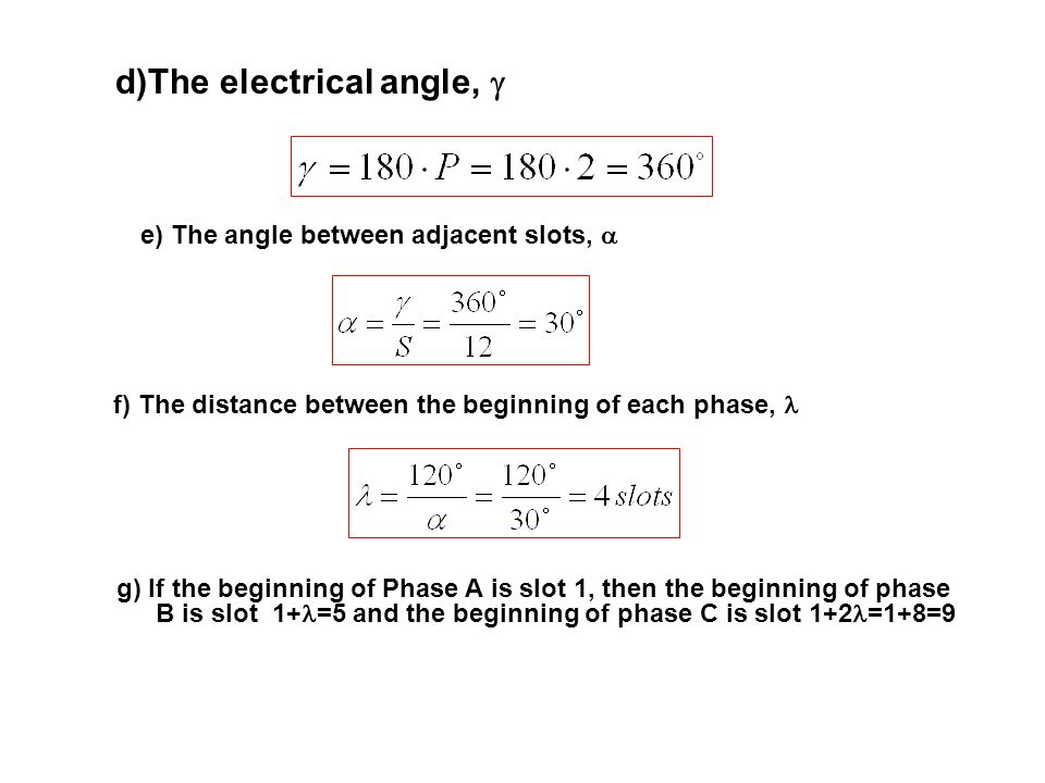 d)The electrical angle, 
