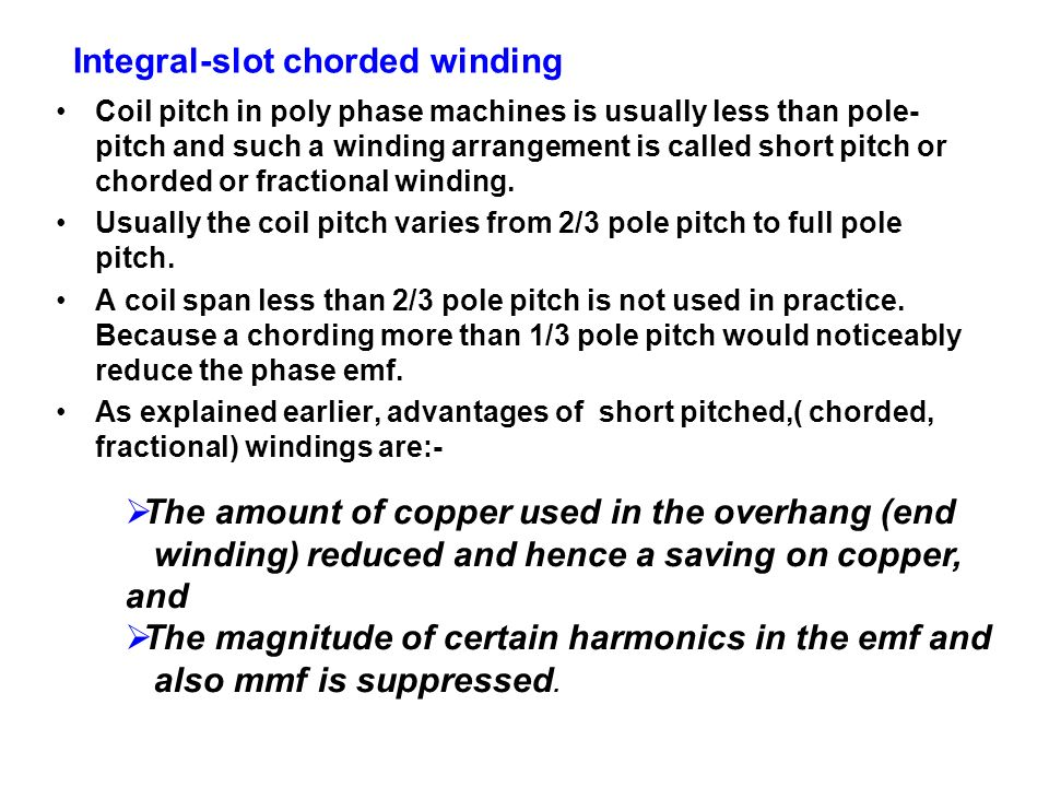 Integral-slot chorded winding