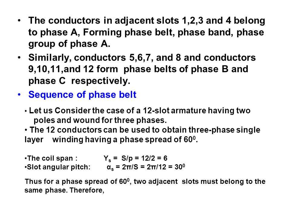 The conductors in adjacent slots 1,2,3 and 4 belong to phase A, Forming phase belt, phase band, phase group of phase A.