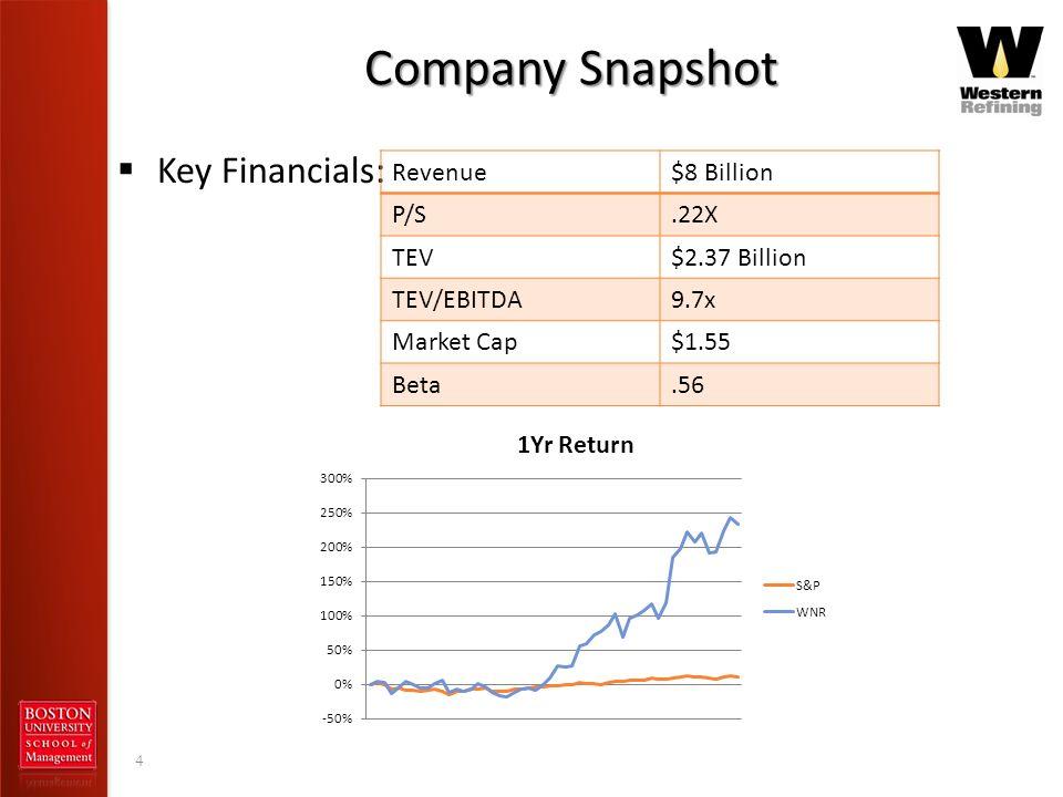 Company Snapshot Key Financials: Revenue $8 Billion P/S .22X TEV
