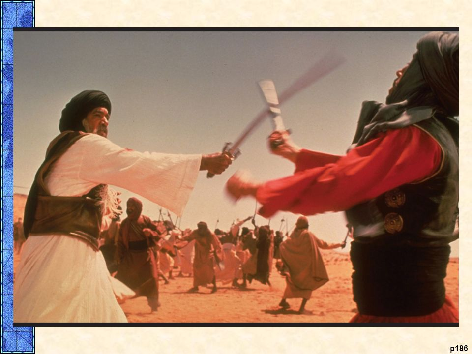 Hamza, Muhammad's uncle (left, played by Anthony Quinn), is shown defending Muhammad's followers in the early years of Islam.