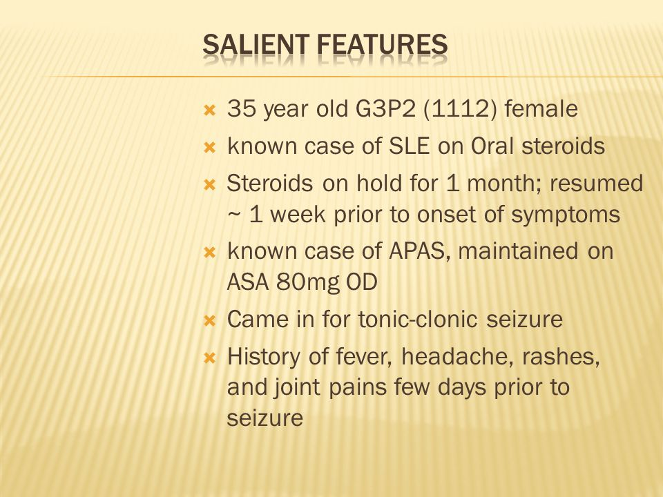 Salient Features 35 year old G3P2 (1112) female