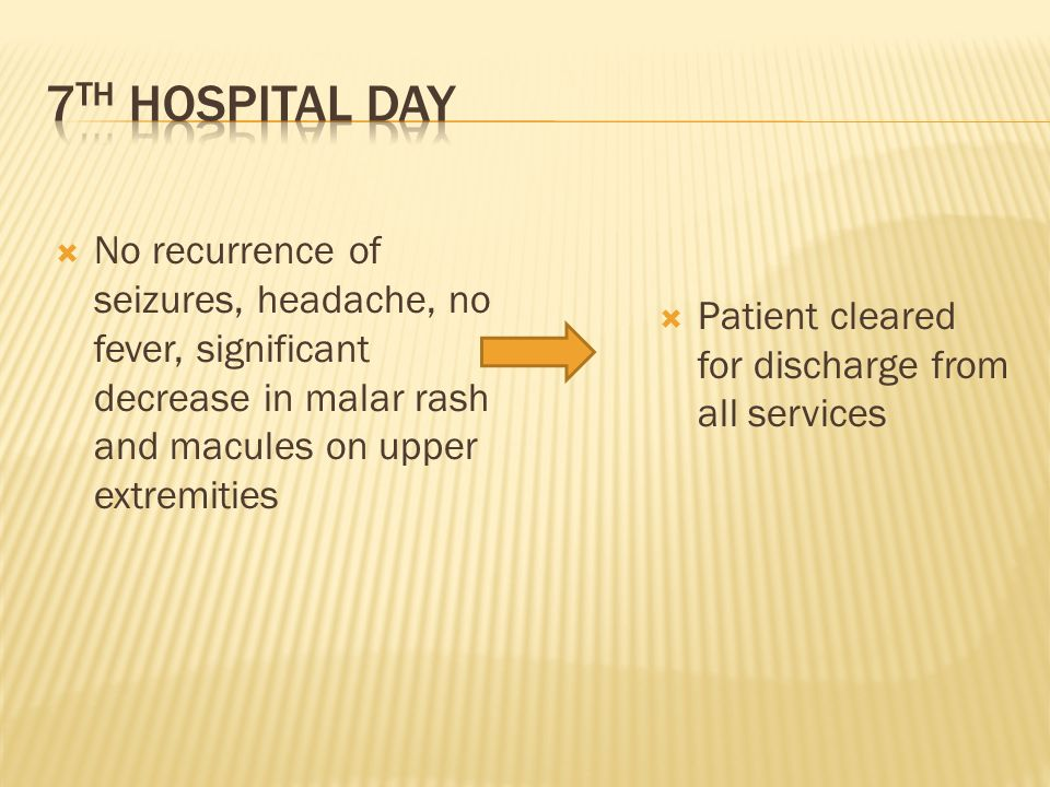7th hospital day Patient cleared for discharge from all services.