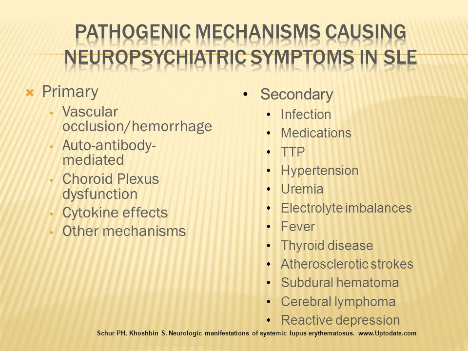Pathogenic Mechanisms causing Neuropsychiatric Symptoms in SLE
