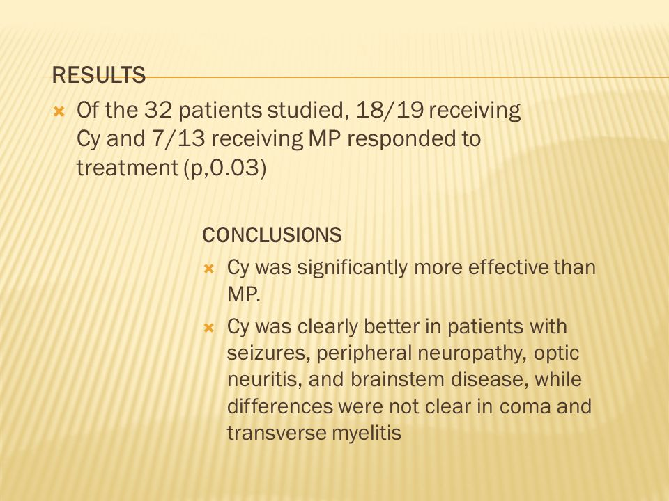 RESULTS Of the 32 patients studied, 18/19 receiving Cy and 7/13 receiving MP responded to treatment (p,0.03)