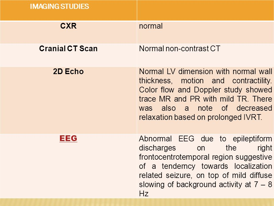 IMAGING STUDIES CXR. normal. Cranial CT Scan. Normal non-contrast CT. 2D Echo.