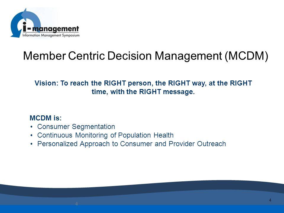 Member Centric Decision Management (MCDM)