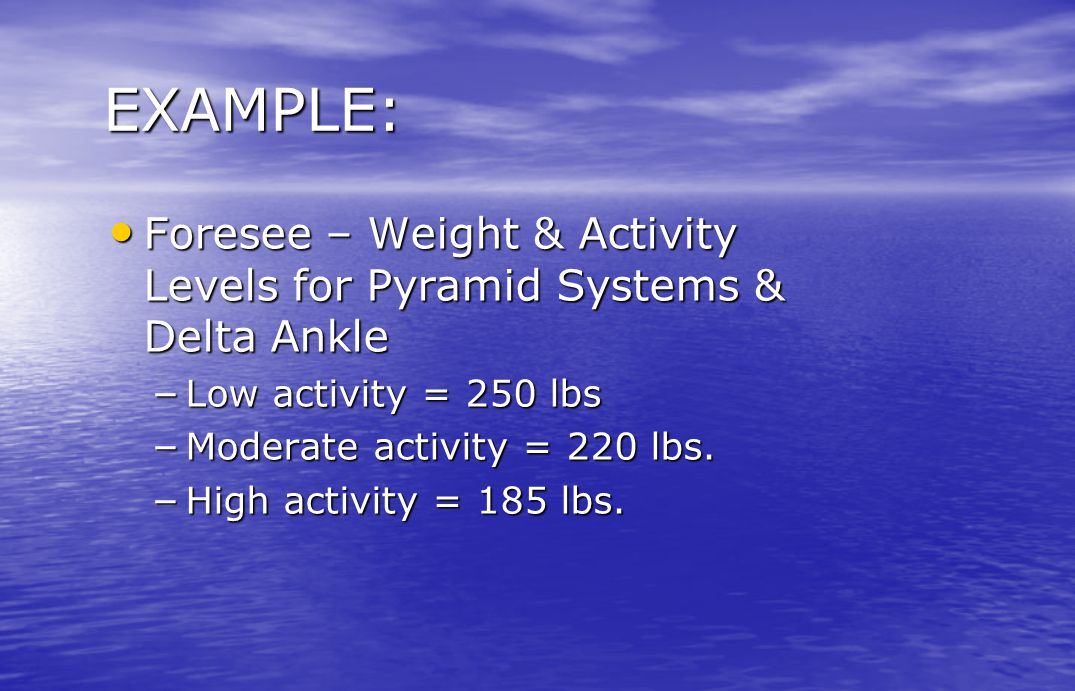 EXAMPLE: Foresee – Weight & Activity Levels for Pyramid Systems & Delta Ankle. Low activity = 250 lbs.