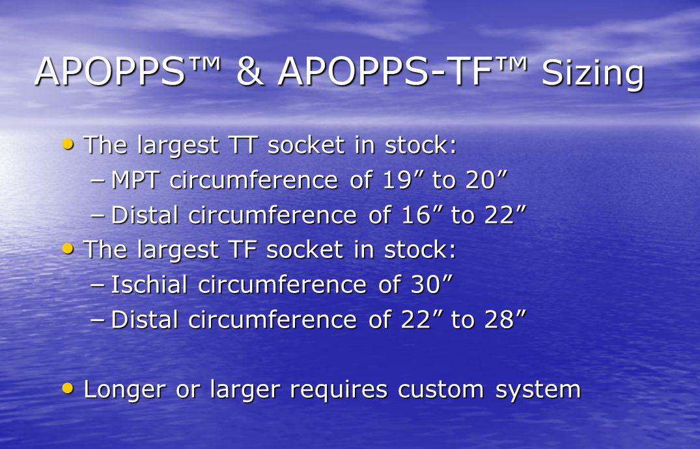 APOPPS™ & APOPPS-TF™ Sizing
