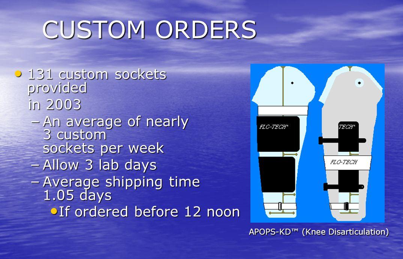 CUSTOM ORDERS 131 custom sockets provided in 2003