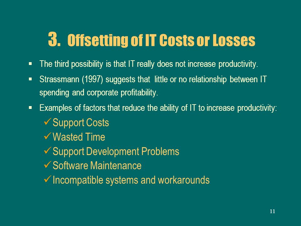 3. Offsetting of IT Costs or Losses