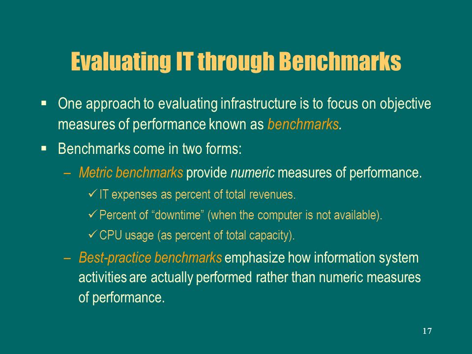 Evaluating IT through Benchmarks