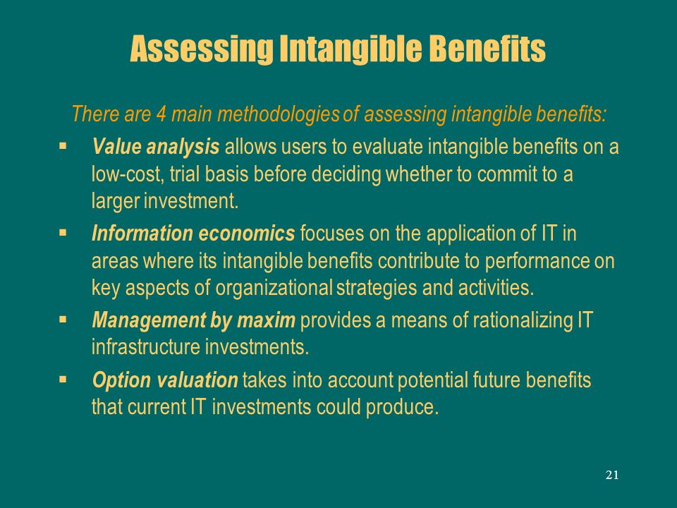 Assessing Intangible Benefits