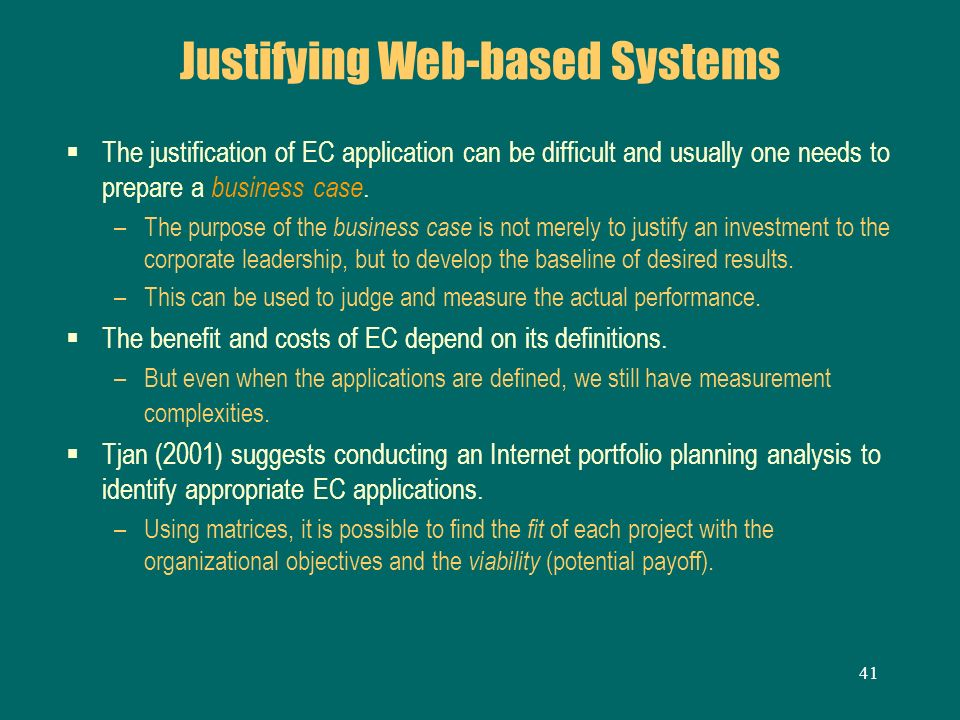 Justifying Web-based Systems