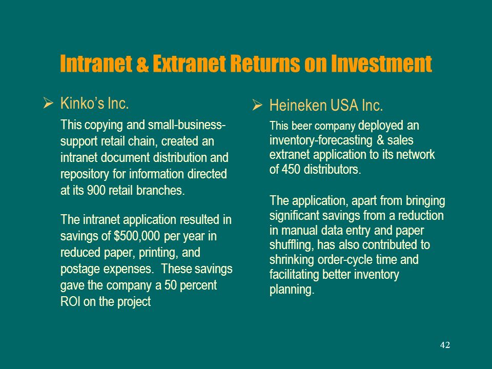 Intranet & Extranet Returns on Investment