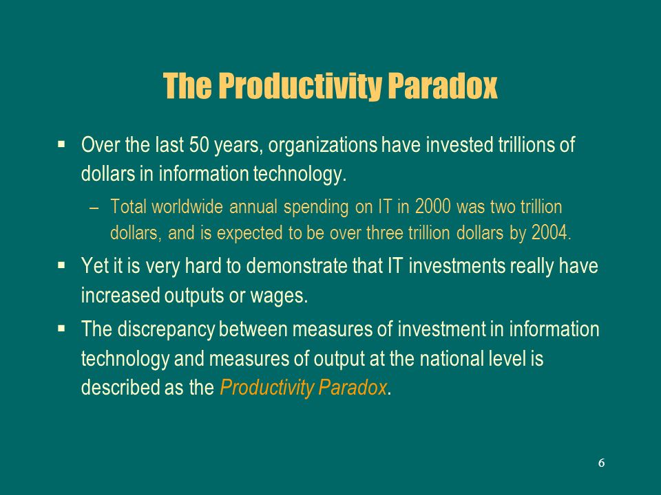 productivity paradox The productivity paradox: implications for libraries by chris hare and gary geer presented during the 1997 acrl national conference in nashville.