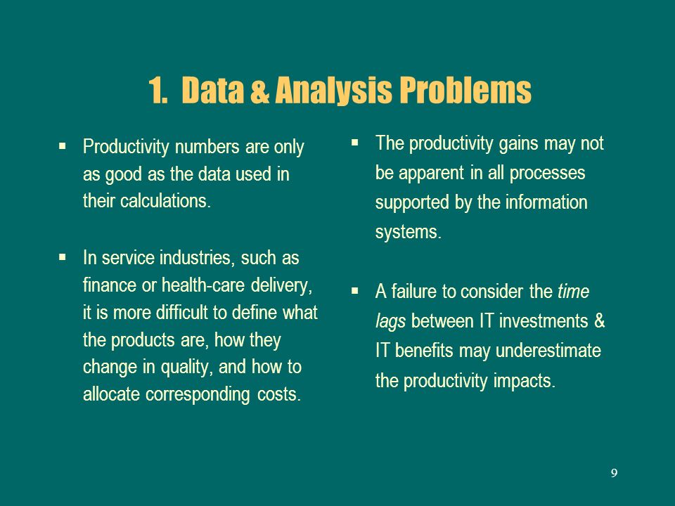 1. Data & Analysis Problems