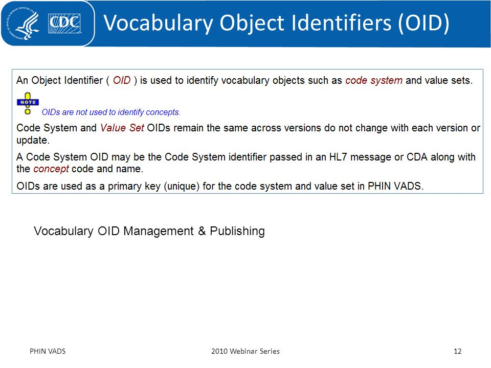 Vocabulary Object Identifiers (OID)