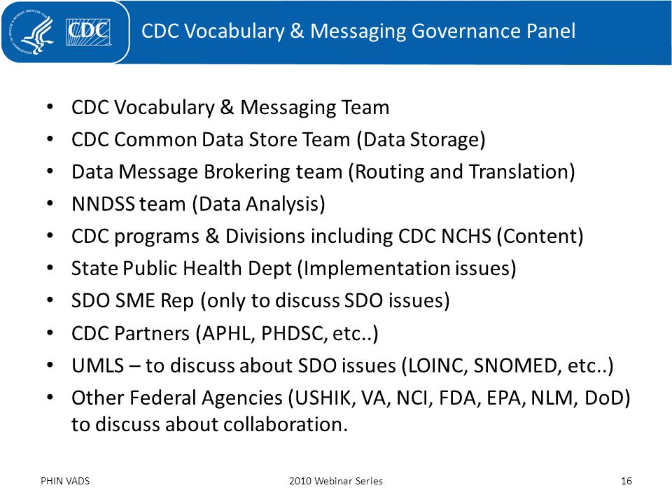 CDC Vocabulary & Messaging Governance Panel