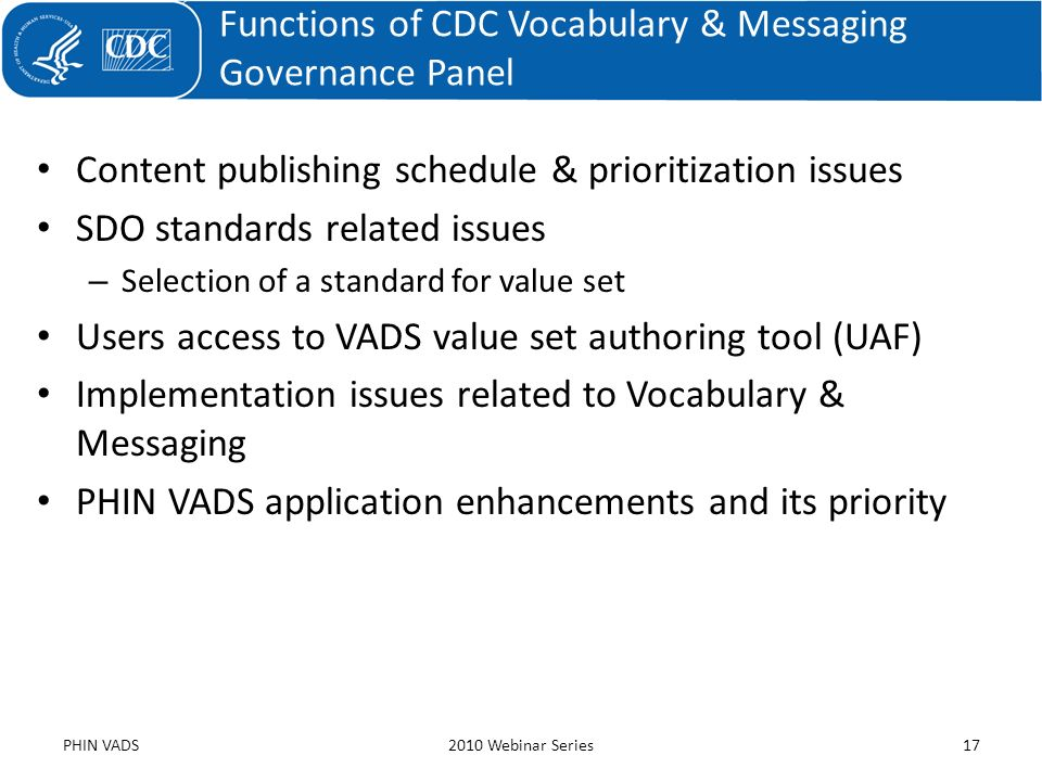 Functions of CDC Vocabulary & Messaging Governance Panel