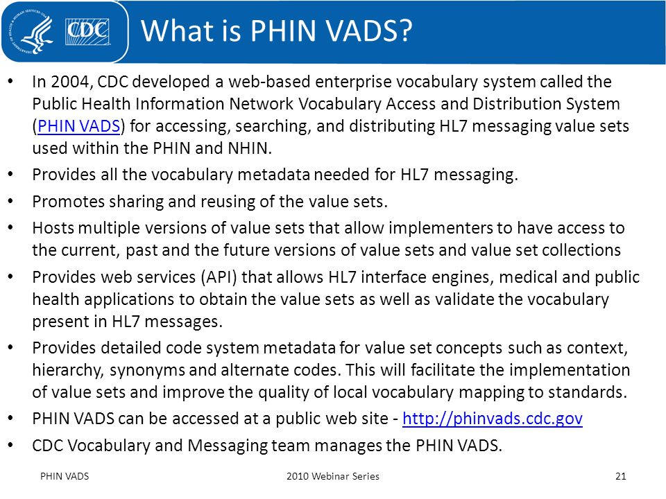 What is PHIN VADS