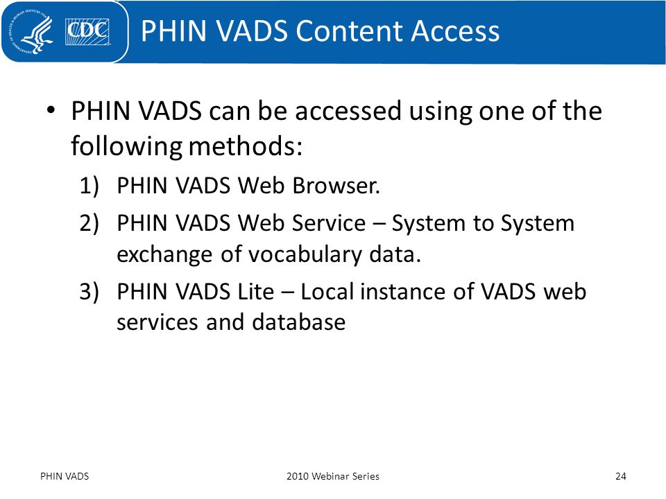 PHIN VADS Content Access
