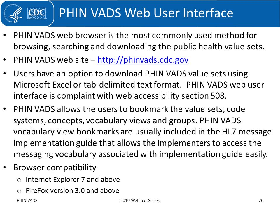 PHIN VADS Web User Interface