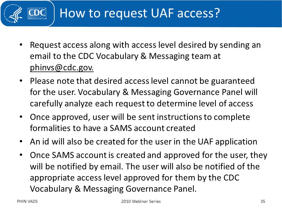 How to request UAF access