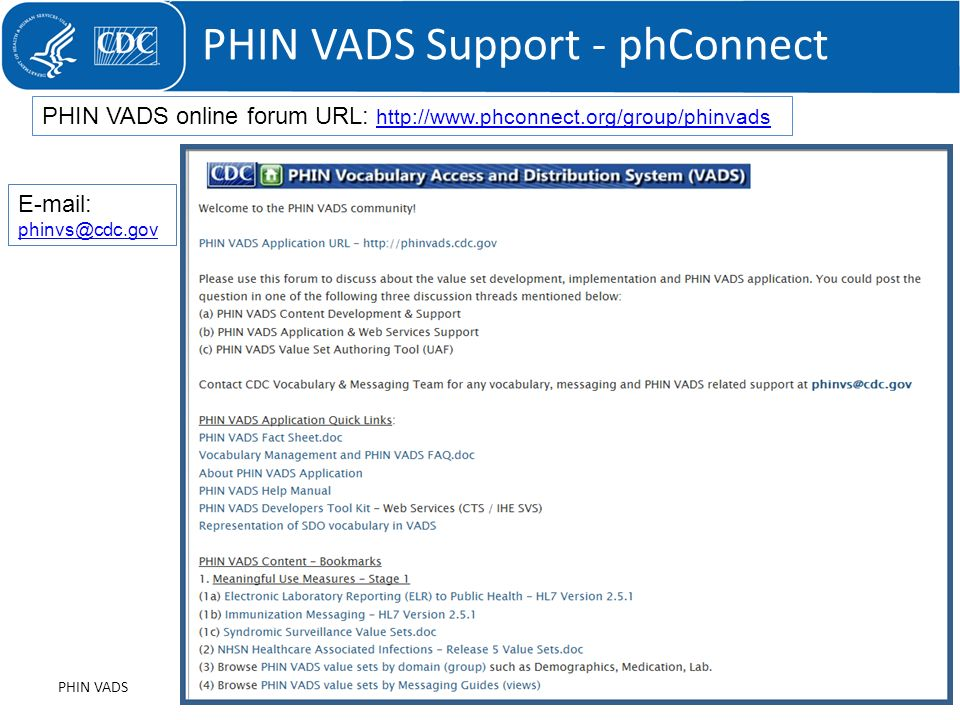 PHIN VADS Support - phConnect