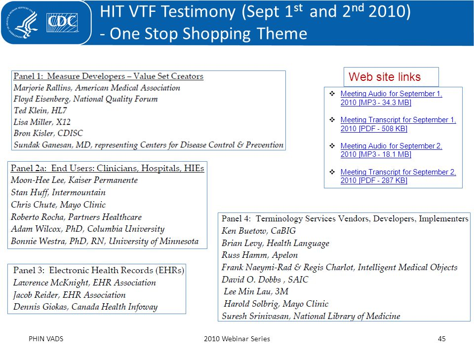 HIT VTF Testimony (Sept 1st and 2nd 2010) - One Stop Shopping Theme