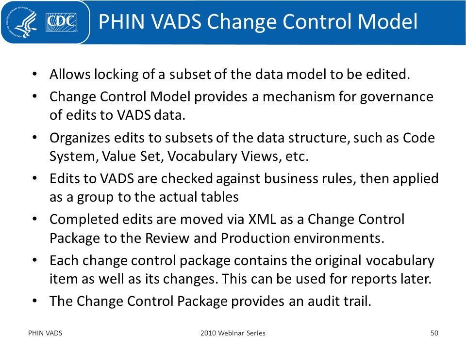 PHIN VADS Change Control Model