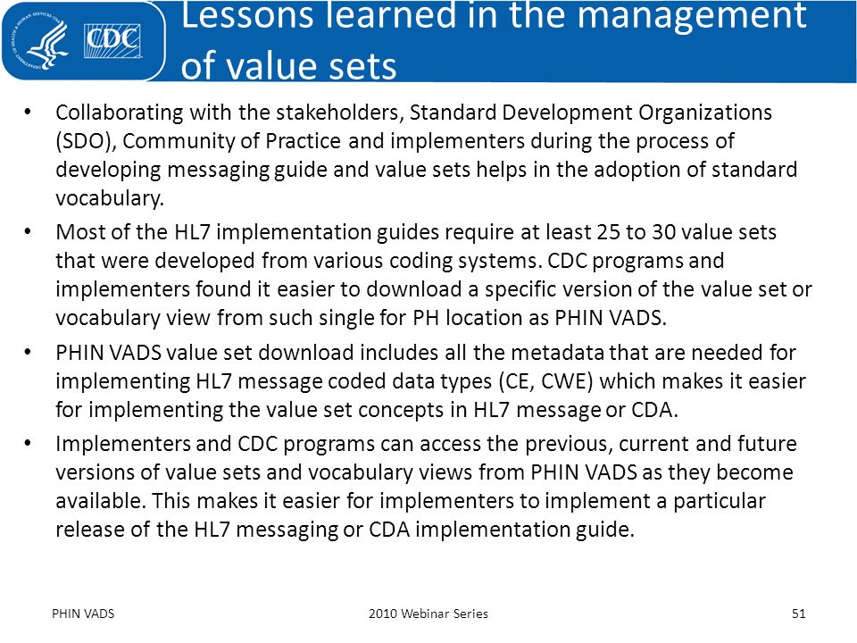 Lessons learned in the management of value sets