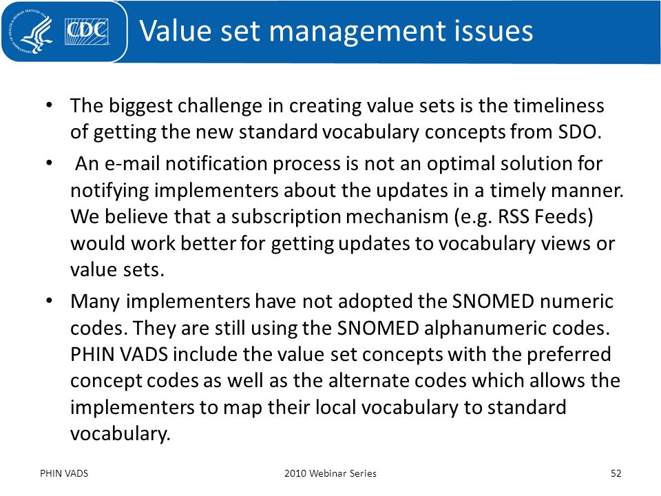 Value set management issues