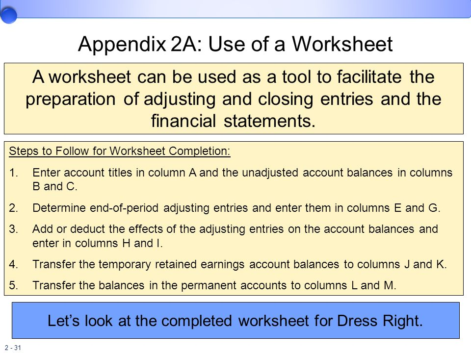 Appendix 2A: Use of a Worksheet