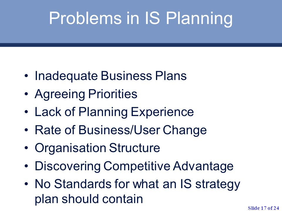 Problems in IS Planning