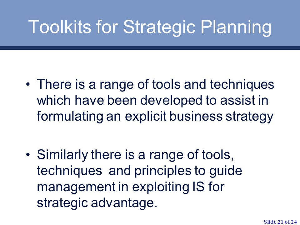 Toolkits for Strategic Planning