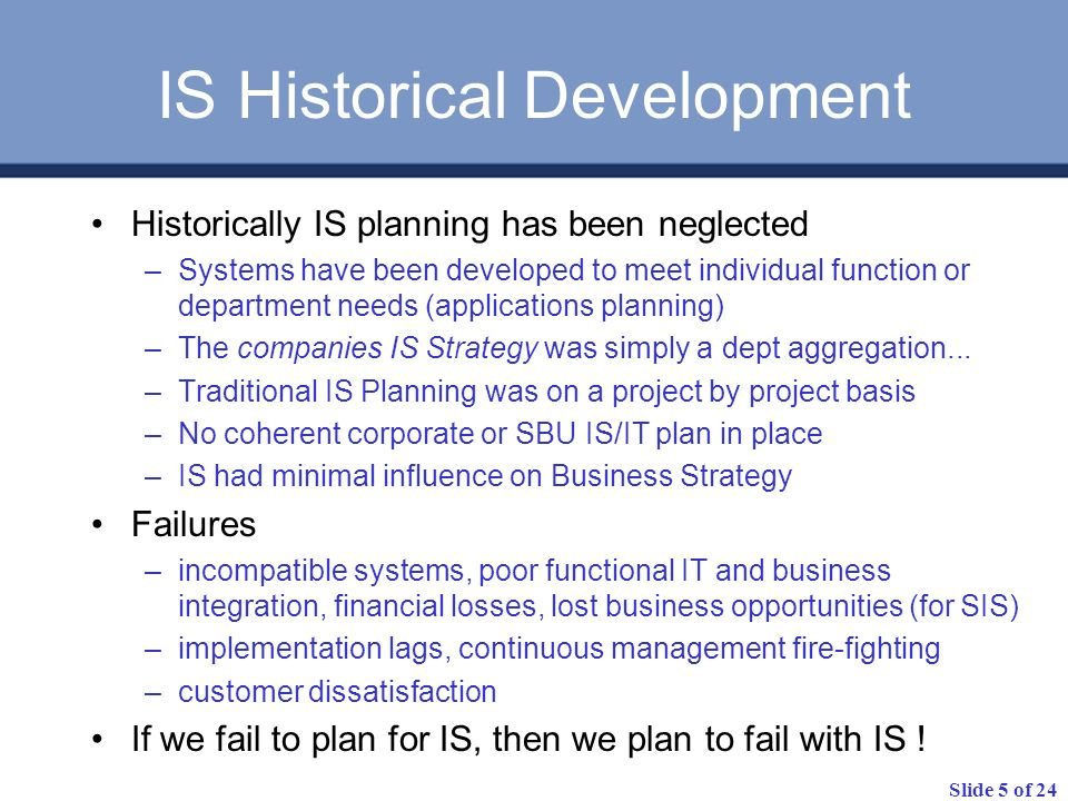 IS Historical Development