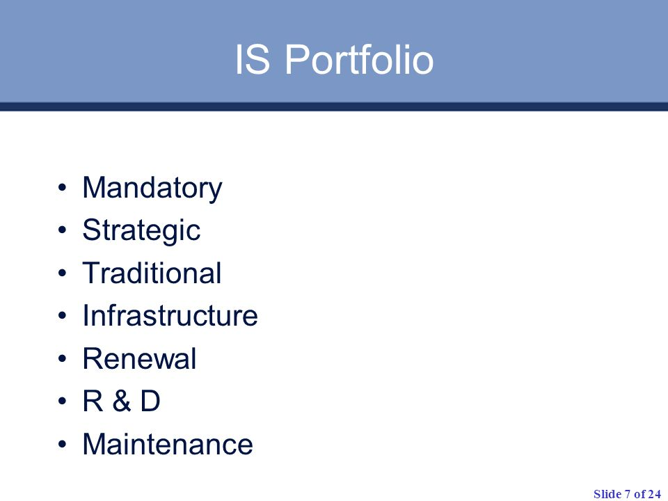 IS Portfolio Mandatory Strategic Traditional Infrastructure Renewal