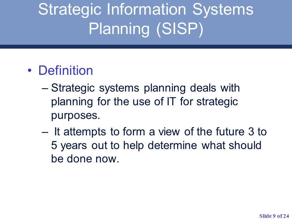 Strategic Information Systems Planning (SISP)