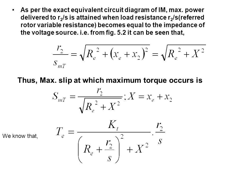 Thus, Max. slip at which maximum torque occurs is