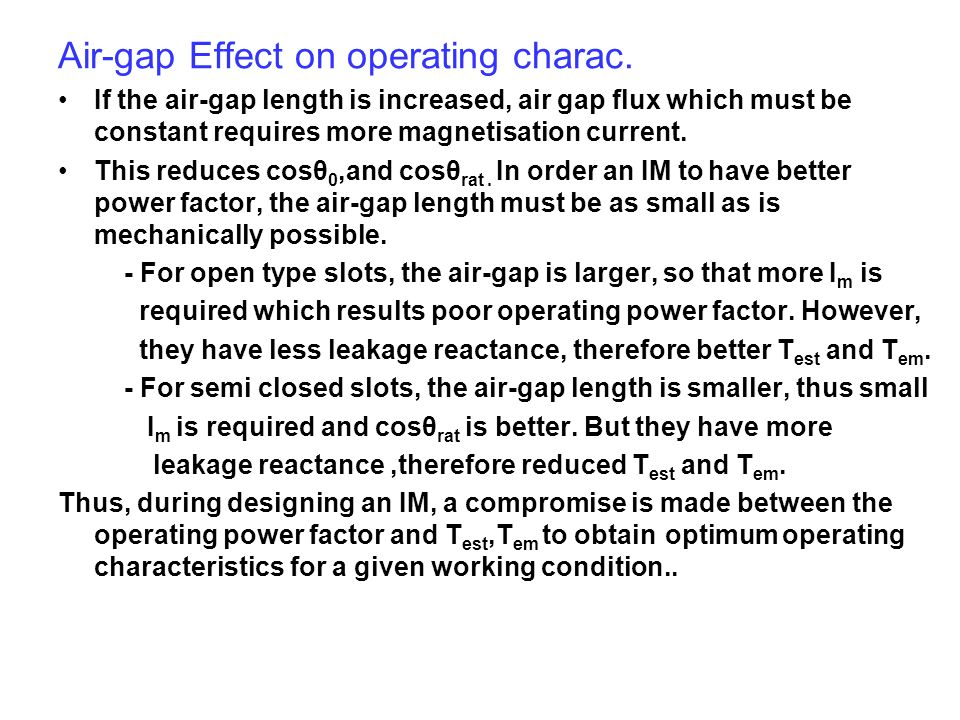 Air-gap Effect on operating charac.
