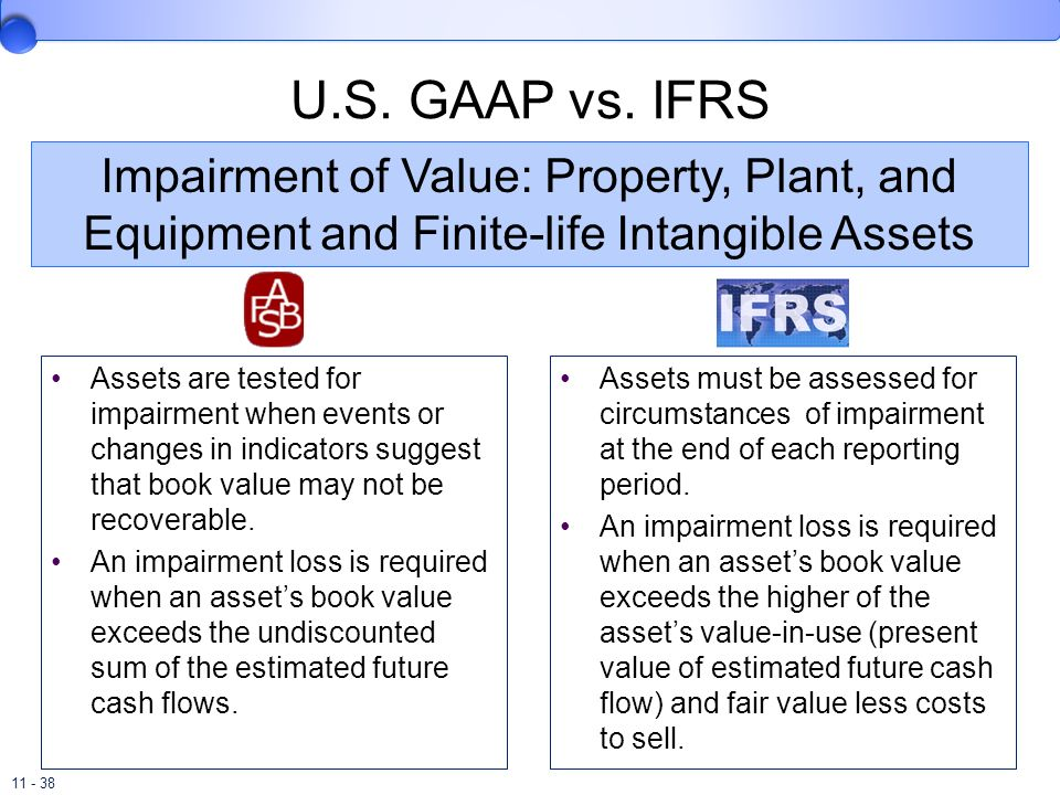 U.S. GAAP vs. IFRSImpairment of Value: Property, Plant, and Equipment and Finite-life Intangible Assets.