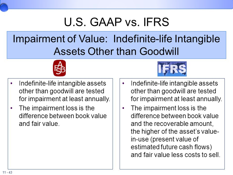 U.S. GAAP vs. IFRS Impairment of Value: Indefinite-life Intangible Assets Other than Goodwill.