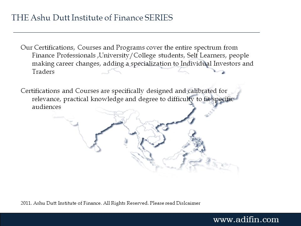 THE Ashu Dutt Institute of Finance SERIES