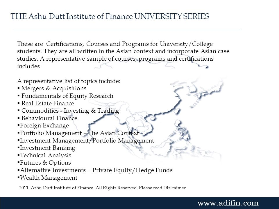 THE Ashu Dutt Institute of Finance UNIVERSITY SERIES