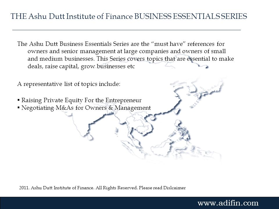 THE Ashu Dutt Institute of Finance BUSINESS ESSENTIALS SERIES