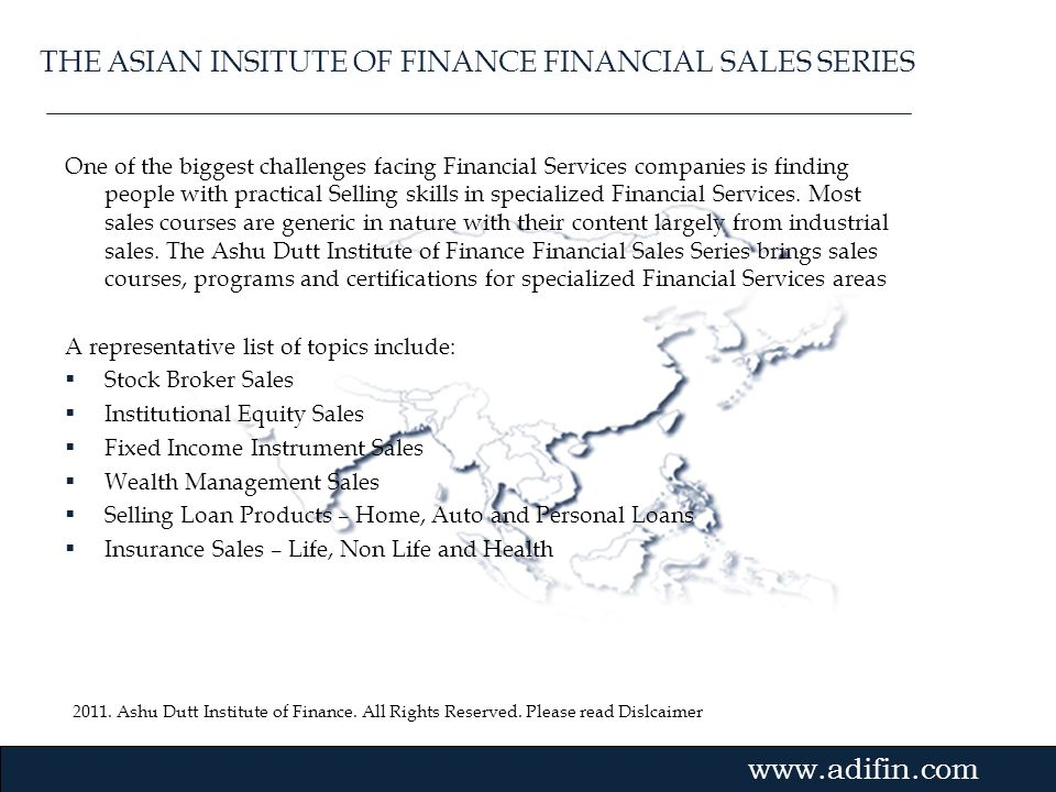 THE ASIAN INSITUTE OF FINANCE FINANCIAL SALES SERIES