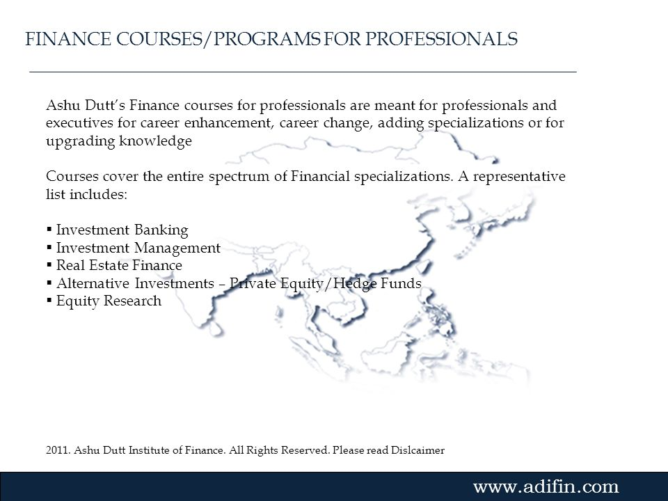 FINANCE COURSES/PROGRAMS FOR PROFESSIONALS
