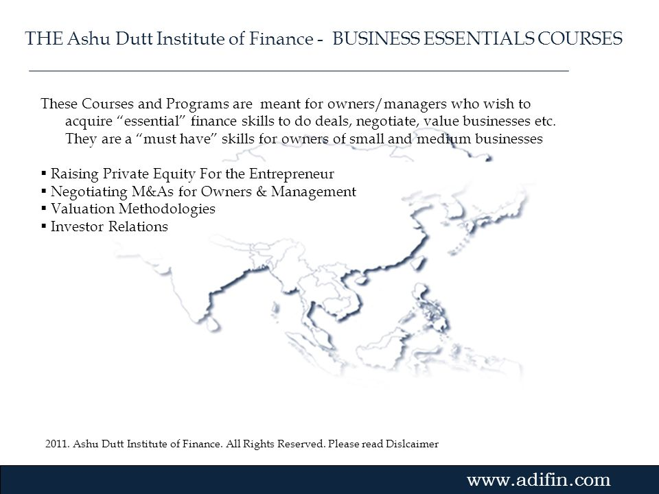 THE Ashu Dutt Institute of Finance - BUSINESS ESSENTIALS COURSES